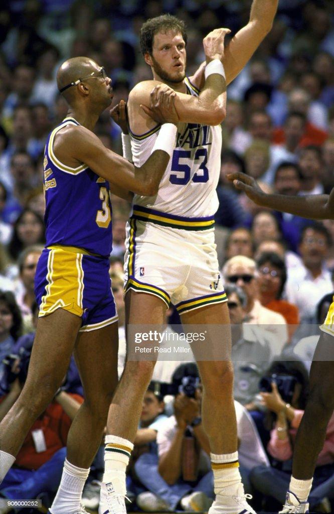 Utah Jazz Mark Eaton in action vs Los Angeles Lakers ...