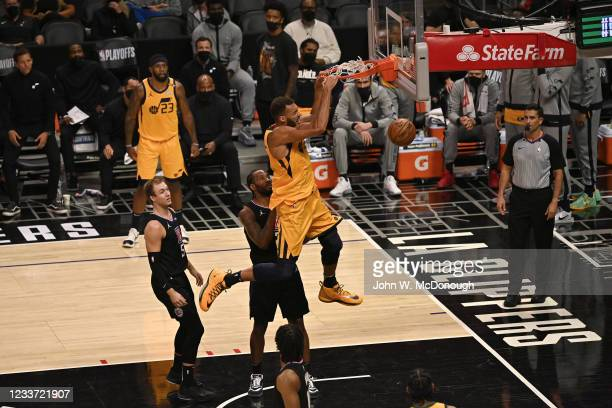 Playoffs: Utah Jazz Rudy Gobert in action, dunking vs Los Angeles Clippers at Staples Center. Game 4. Los Angeles, CA 6/14/2021 CREDIT: John W....