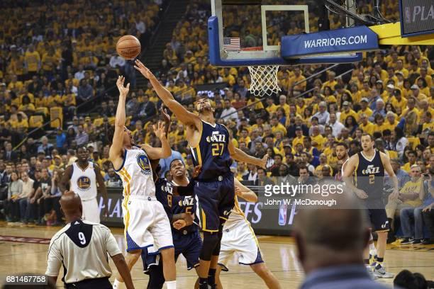NBA Playoffs Utah Jazz Rudy Gobert in action shot block vs Golden State Warriors Klay Thompson at Oracle Arena Game 2 Oakland CA CREDIT John W...