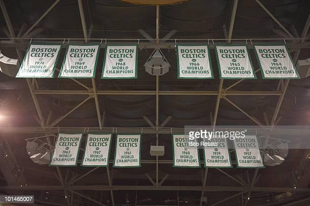 NBA Playoffs View of championship banners at TD Garden during Game 3 between Boston Celtics and Orlando Magic Boston MA 5/22/2010 CREDIT Bob Rosato