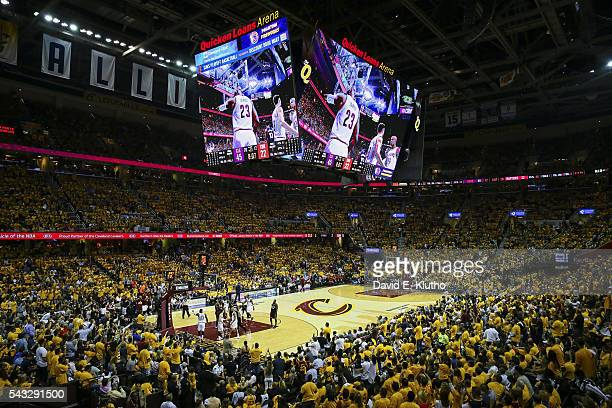 NBA Playoffs View of Cleveland Cavaliers LeBron James on jumbotron vs Toronto Raptors at Quicken Loans Arena Game 5 Cleveland OH CREDIT David E Klutho