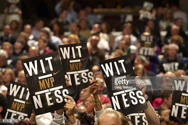 NBA Playoffs View of fans holding MVP WITNESS signs for Cleveland Cavaliers LeBron James during Game 1 vs Atlanta Hawks Cleveland OH 5/5/2009 CREDIT...