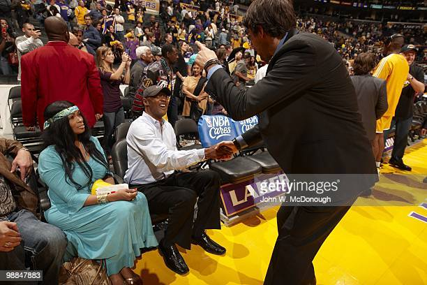 Playoffs: View of Los Angeles Lakers Kobe Bryant parents, mother Pam and father Joe before game vs Oklahoma City Thunder. Game 5. Los Angeles, CA...