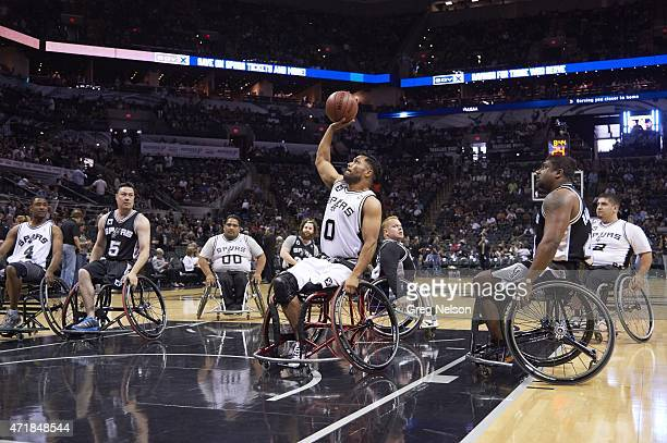Playoffs: View of wheelchair players in action during halftime of San Antonio Spurs vs Los Angeles Clippers game at AT&T Center. Game 3. San Antonio,...