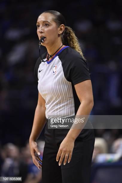 NBA referee Ashley MoyerGleich during Oklahoma City Thunder vs Detroit Pistons during preseason game at Chesapeake Energy ArenaOklahoma City OK...