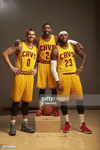 NBA Season Preview Portrait of Cleveland Cavaliers Kevin Love Kyrie Irving and LeBron James during photo shoot at Cleveland Clinic Courts...