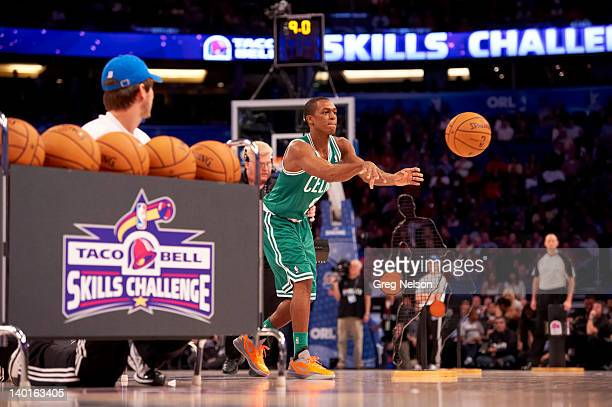 NBA Skills Challenge Boston Celtics Rajon Rondo in action during AllStar Saturday Night of AllStar Weekend at Amway Arena Orlando FL CREDIT Greg...