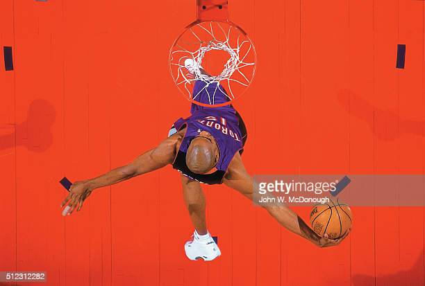 NBA Slam Dunk Contest Aerial view of Toronto Raptors Vince Carter in action dunk the basketball during contest during All Star Weekend at Oakland...
