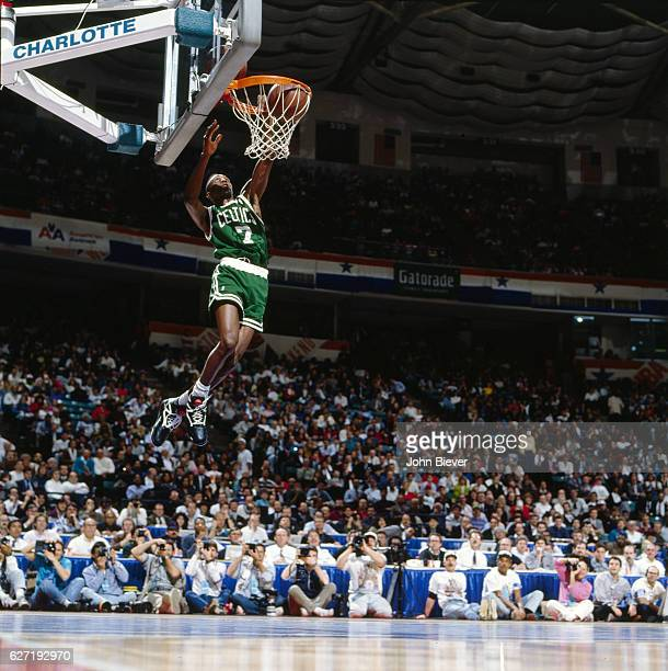 NBA Slam Dunk Contest Boston Celtics Dee Brown in action during All Star Weekend at Charlotte Coliseum Charlotte NC CREDIT John Biever