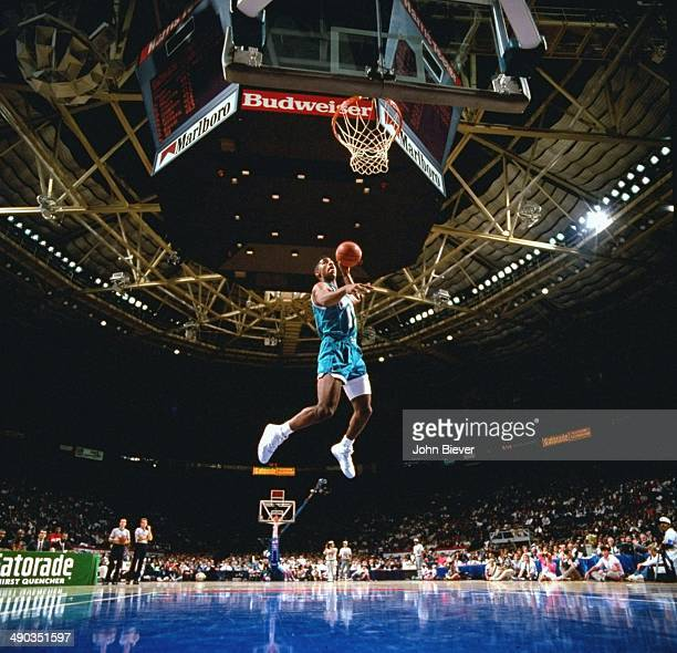 NBA Slam Dunk Contest Charlotte Hornets Kendall Gill in action during All Star Weekend at Charlotte Coliseum Charlotte NC CREDIT John Biever