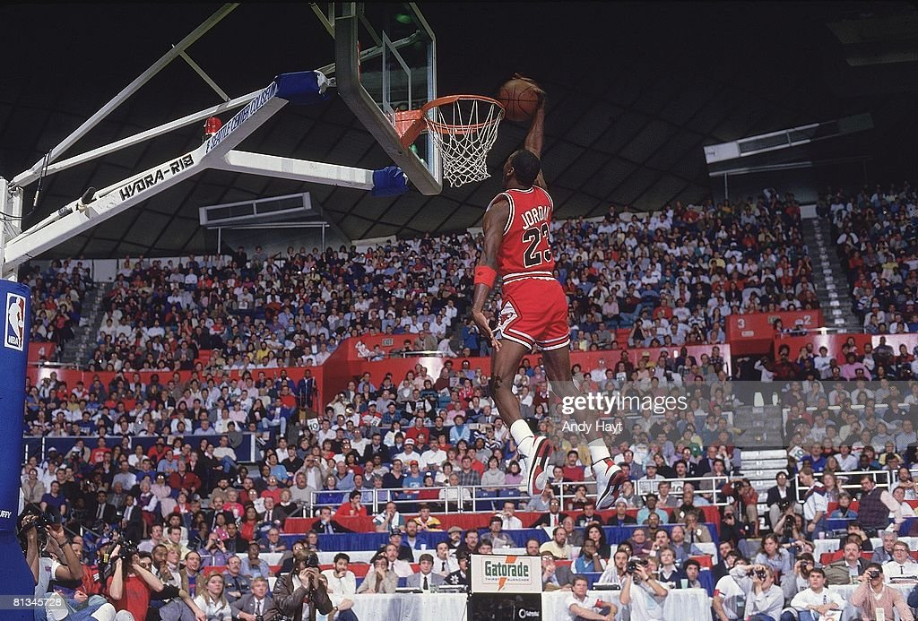 Chicago Bulls Michael Jordan, 1987 NBA Slam Dunk Contest : News Photo