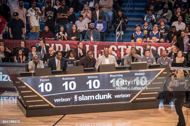 NBA Slam Dunk Contest Judges Gary Payton David Robinson Dominique Wilkins Alonzo Mourning and Chris Webber giving all 10s during competition at...