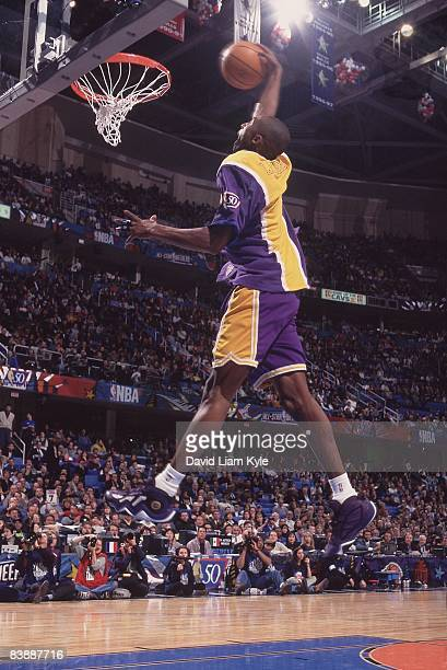 NBA Slam Dunk Contest Los Angeles Lakers Kobe Bryant in action during All Star Weekend Cleveland OH 2/8/1997 CREDIT David Liam Kyle