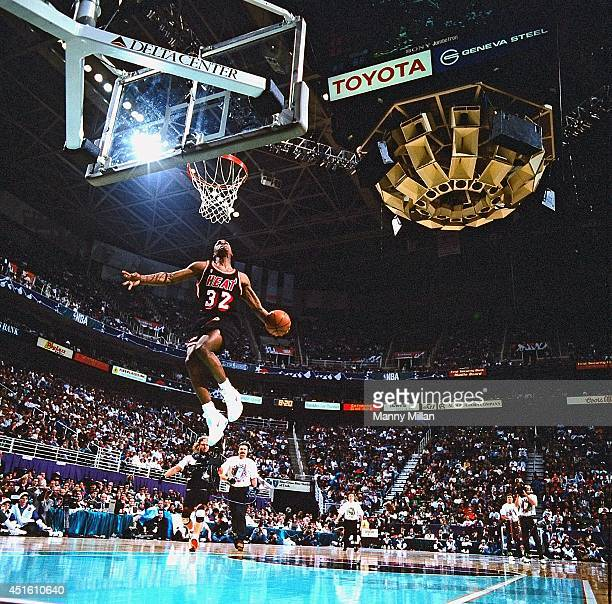 NBA Slam Dunk Contest Miami Heat Harold Miner in action dunk during All Star Weekend at Delta Center Salt Lake City UT CREDIT Manny Millan