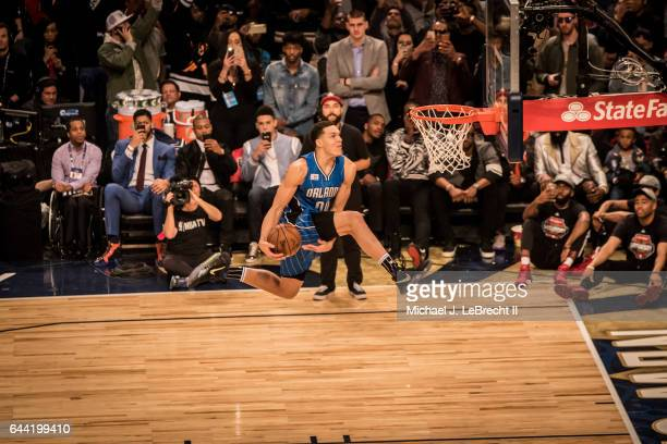 NBA Slam Dunk Contest Orlando Magic Aaron Gordon in action dunking during competition at Smoothie King Center New Orleans LA CREDIT Michael J...