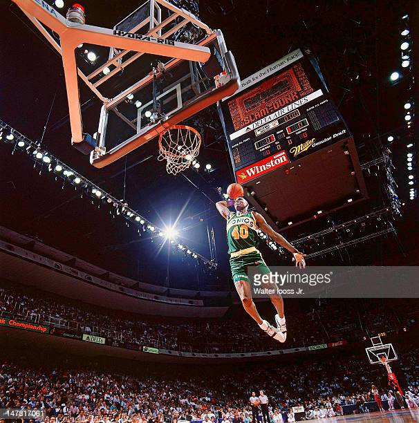 NBA Slam Dunk Contest Seattle SuperSonics Shawn Kemp in action dunk during AllStar Saturday Night of AllStar Weekend at Miami Arena Miami FL CREDIT...