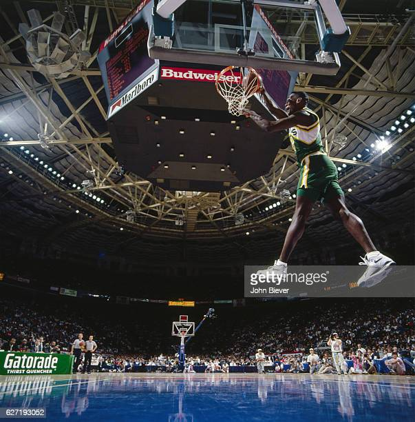 NBA Slam Dunk Contest Seattle SuperSonics Shawn Kemp in action during All Star Weekend at Charlotte Coliseum Charlotte NC CREDIT John Biever