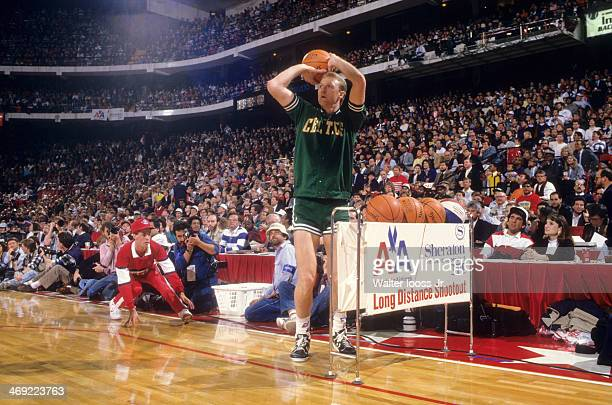 NBA Three Point Contest Boston Celtics Larry Bird in action shot during All Star Weekend at Chicago Stadium Chicago IL CREDIT Walter Iooss Jr