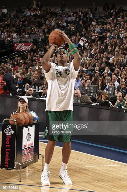 NBA Three Point Contest Boston Celtics Paul Pierce in action shot during AllStar Saturday Night of All Star Weekend at American Airlines Center...