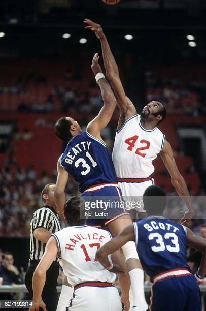 NBA/ABA All Star Game San Francisco Warriors Nate Thurmond in action tipoff vs Utah Stars Zelmo Beatty at Houston Astrodome Houston TX CREDIT Neil...