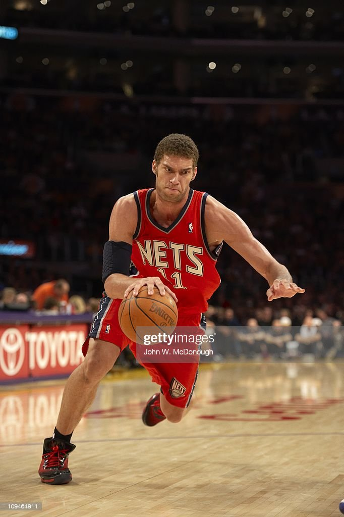 official photos e4842 ed1db New Jersey Nets Brook Lopez in action vs Los Angeles Lakers ...