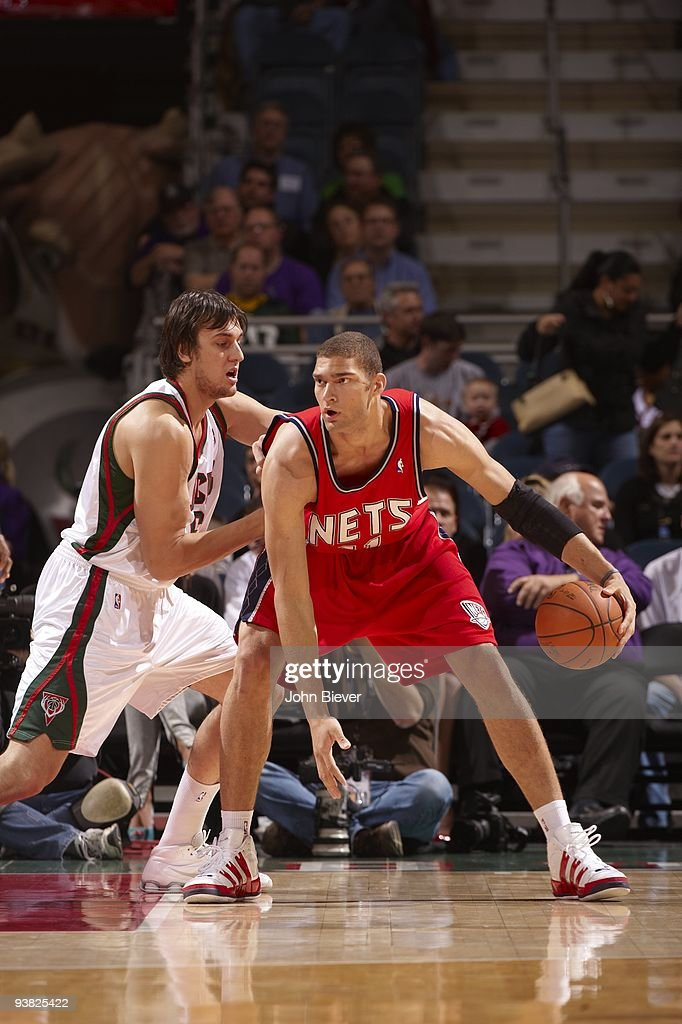 purchase cheap b2ed0 4b738 New Jersey Nets Brook Lopez in action vs Milwaukee Bucks ...