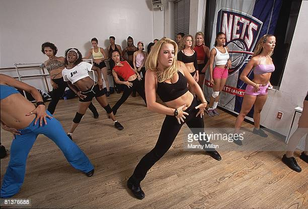 Basketball New Jersey Nets cheerleading in action during tryouts at 72nd Street Studios New York NY 8/8/2001