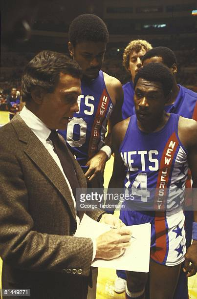 Basketball New Jersey Nets coach Larry Brown with team during game vs New York Knicks New York NY