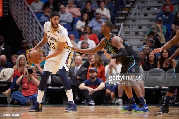 New Orleans Pelicans Anthony Davis in action vs Dallas Mavericks Harrison Barnes at Smoothie King Center New Orleans LA CREDIT Greg Nelson