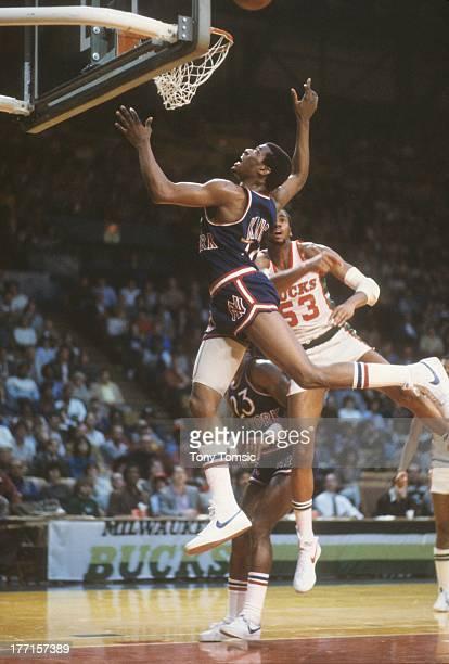 New York Knicks Bernard King in action layup vs Milwaukee Bucks at Milwaukee Arena Milwaukee WI CREDIT Tony Tomsic