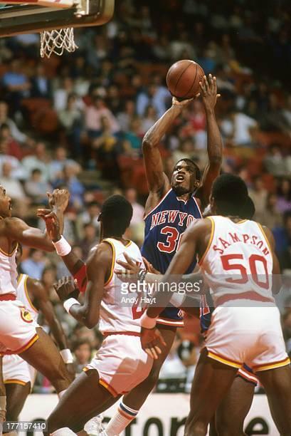 New York Knicks Bernard King in action shot vs Houston Rockets at The SummitHouston TX 2/4/1984CREDIT Andy Hayt
