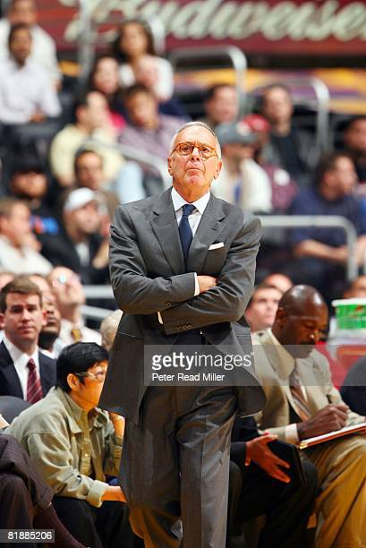 Basketball New York Knicks coach Larry Brown on sidelines during game vs Los Angeles Lakers Los Angeles CA