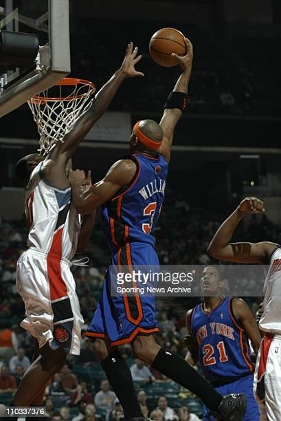 NBA Basketball New York Knicks Jerome Williams against Charlotte Bobcats Emeka Okafor on April 16 2005 in Charlotte NC The Knicks won 10098