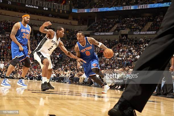 New York Knicks JR Smith in action vs San Antonio Spurs Kawhi Leonard at ATT Center San Antonio TX CREDIT Greg Nelson