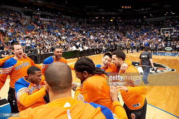 New York Knicks Steve Novak Iman Shumpert Jared Jeffries Renaldo Balkman Jeremy Lin and Landry Fields before game vs Minnesota Timberwolves at Target...