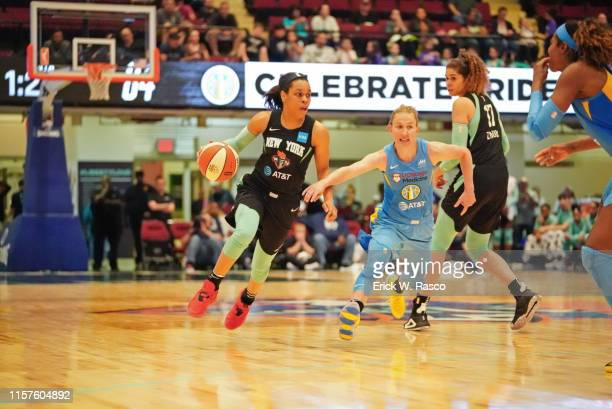 New York Liberty Asia Durr in action vs Chicago Sky Courtney Vandersloot at Westchester County Center White Plains NY CREDIT Erick W Rasco