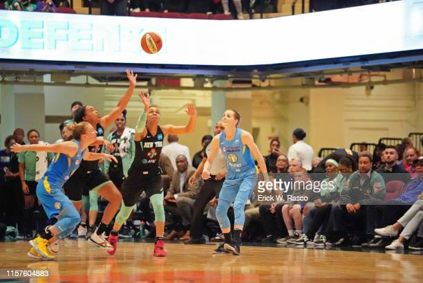 New York Liberty Brittany Boyd and Asia Durr in action vs Chicago Sky Allie Quigley at Westchester County Center White Plains NY CREDIT Erick W Rasco