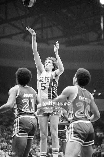 New York Nets Billy Paultz in action taking shot vs Carolina Cougars Uniondale NY 12/2/1973