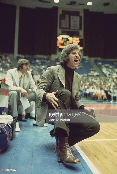 New York Nets coach Kevin Loughery on sidelines during game vs Carolina Cougars Uniondale NY 12/2/1973