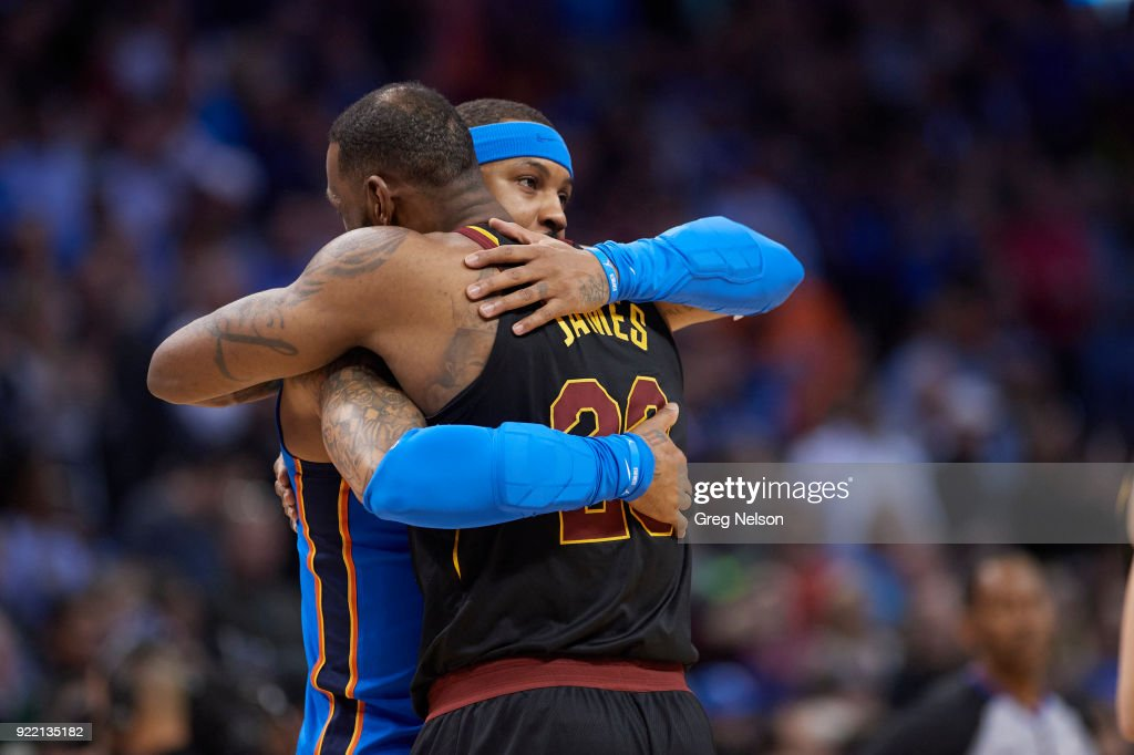 Oklahoma City Thunder Carmelo Anthony (7) hugging Cleveland Cavaliers LeBron James (23) during game at Chesapeake Energy Arena. Greg Nelson TK1 )