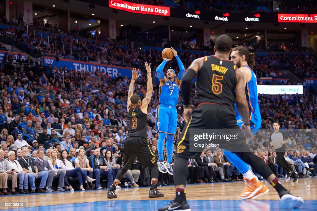 Oklahoma City Thunder Carmelo Anthony (0) in action, shooting vs Cleveland Cavaliers at Chesapeake Energy Arena. Greg Nelson TK1 )