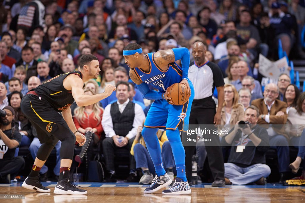Oklahoma City Thunder Carmelo Anthony (7) in action vs Cleveland Cavaliers Larry Nance Jr. (24) at Chesapeake Energy Arena. Greg Nelson TK1 )
