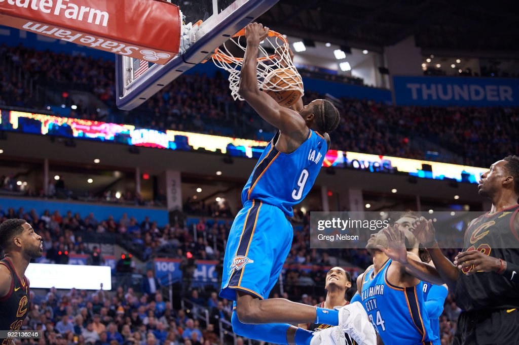 Oklahoma City Thunder Jerami Grant (9) in action, dunking vs Cleveland Cavaliers at Chesapeake Energy Arena. Greg Nelson TK1 )