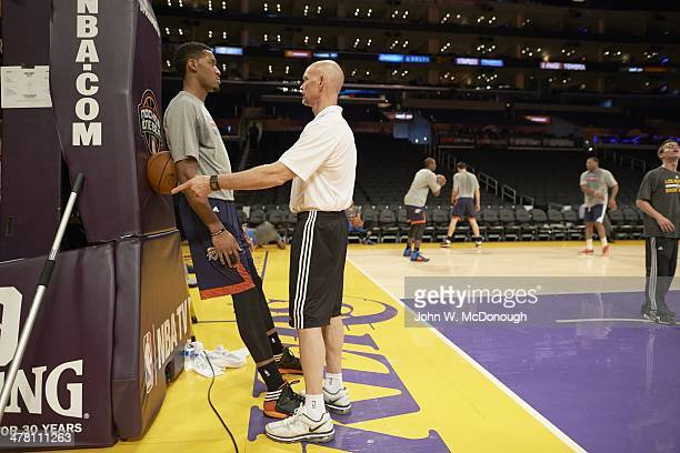 Oklahoma City Thunder Jeremy Lamb talking to strength and conditioning coach Dwight Daub on court before game vs Los Angeles Lakers at Staples Center...