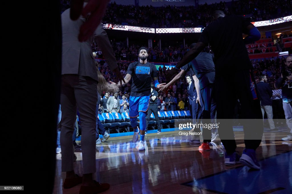 Oklahoma City Thunder Paul George (13) during introductions before game vs Cleveland Cavaliers at Chesapeake Energy Arena. Greg Nelson TK1 )