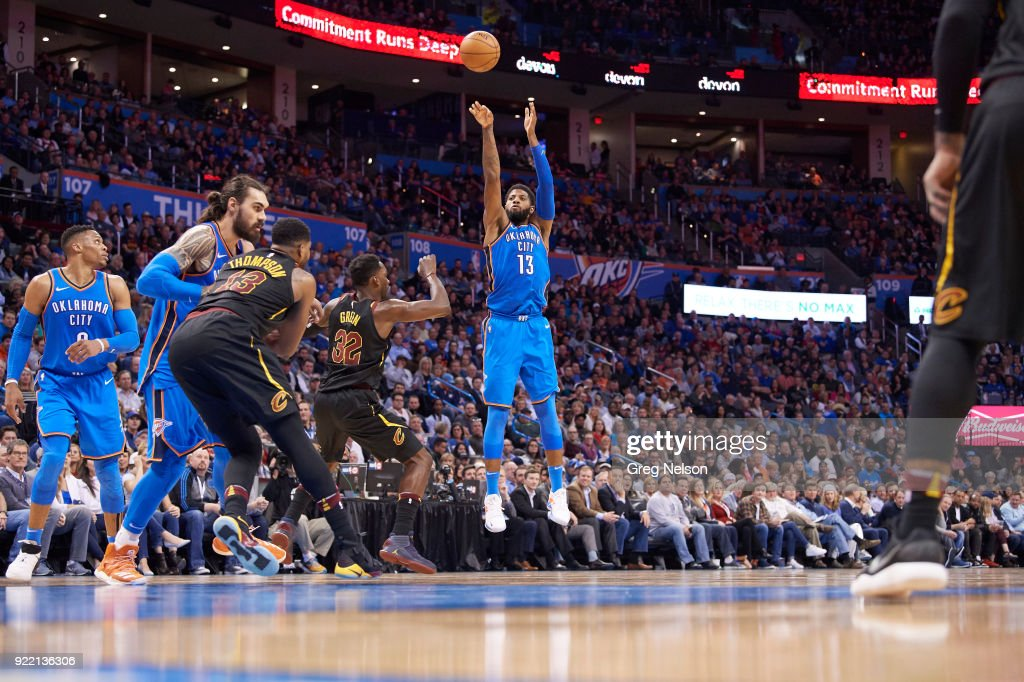 Oklahoma City Thunder Paul George (13) in action, shooting vs Cleveland Cavaliers at Chesapeake Energy Arena. Greg Nelson TK1 )
