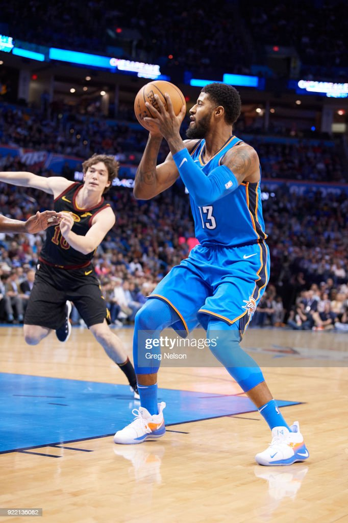 Oklahoma City Thunder Paul George (13) in action vs Cleveland Cavaliers at Chesapeake Energy Arena. Greg Nelson TK1 )