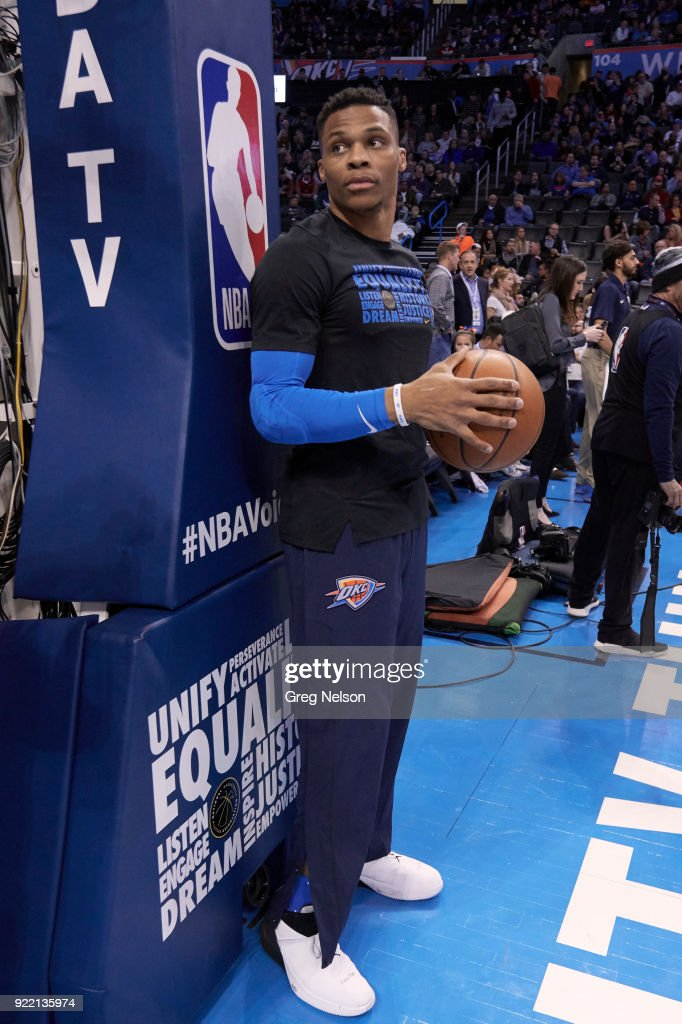 Oklahoma City Thunder Russell Westbrook (0) before game vs Cleveland Cavaliers at Chesapeake Energy Arena. Greg Nelson TK1 )