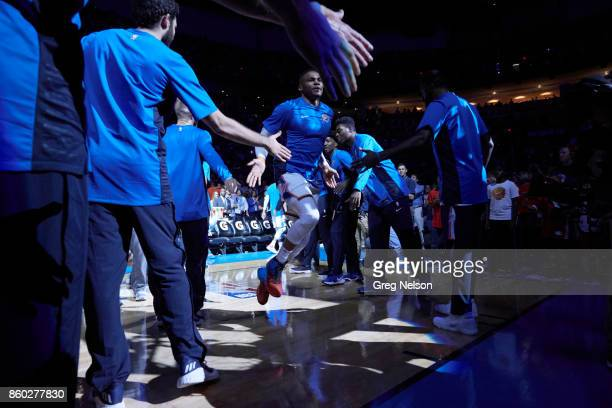 Oklahoma City Thunder Russell Westbrook during introductions before preseason game vs New Orleans Pelicans at Chesapeake Energy Arena Oklahoma City...