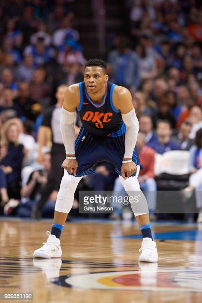 Oklahoma City Thunder Russell Westbrook during game vs Portland Trail Blazers at Chesapeake Energy Arena Oklahoma City OK CREDIT Greg Nelson